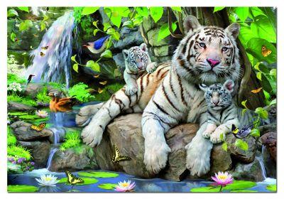 """Картонен пъзел """"Бели бенгалски тигри""""- 1000 части"""