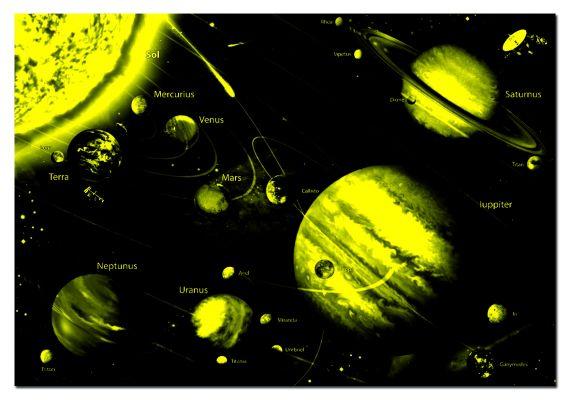 Светещ картонен пъзел Слънчевата система - 1000 части