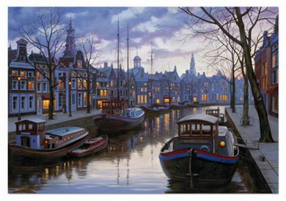 Картонен пъзел Вечерен Амстердам