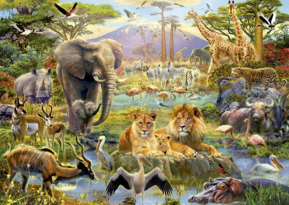 """Картонен пъзел """"В Африка на водопой"""" - 1500 части"""