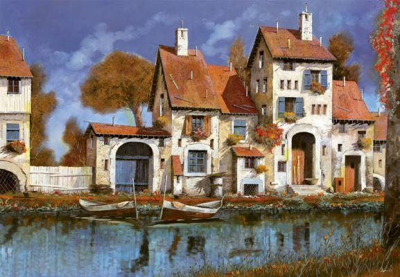 """Картонен пъзел """"Чифлик на езерото"""" - 2000 части, художник Гуидо Борели"""