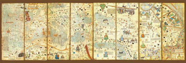 """Картонен панорамен пъзел """"Карта на света от 1375 г."""" - 3000 части"""