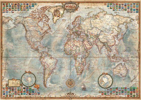 """Картонен пъзел """"Политическа карта на света"""" - 1500 части"""